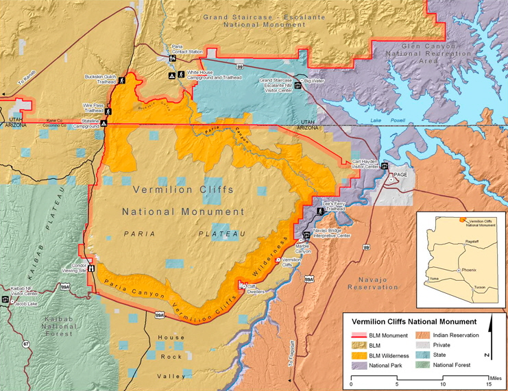 Map ++ Vermilion Cliffs National Monument - Paria Canyon Wilderness